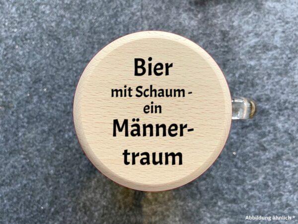 """Bierkrugdeckel mit Spruch """"Bier mit Schaum ein Männertraum"""" als Gravur"""