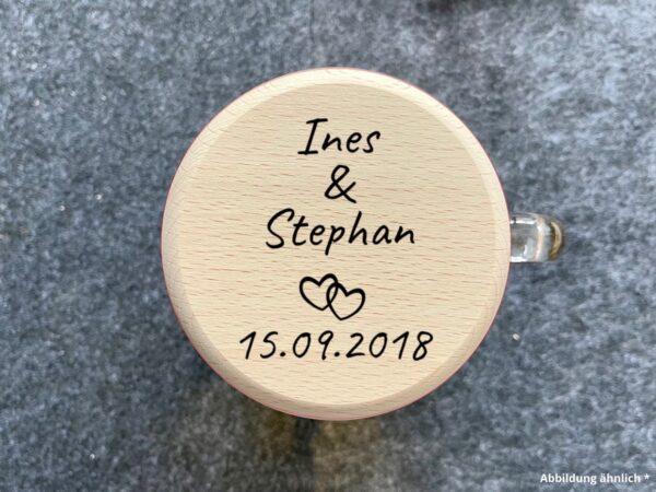 Bierkrugdeckel mit Wunschgravur zur Hochzeit