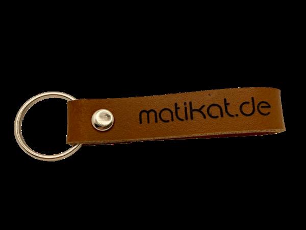 Schlüsselanhänger mit Lederband mit Wunschgravur, braun