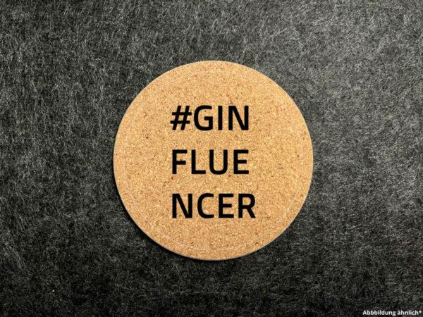 Korkuntersetzer, Glasuntersetzer, Wunschgravur, rund, #Ginfluencer