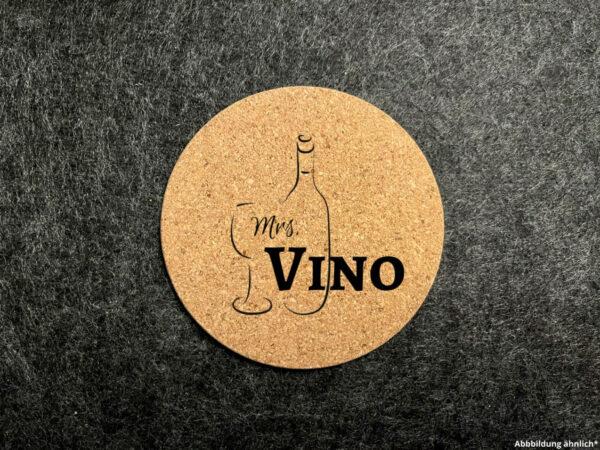 Korkuntersetzer, Glasuntersetzer, Wunschgravur, rund, Mrs Vino