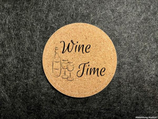 Korkuntersetzer, Glasuntersetzer, Wunschgravur, rund, Wine Time