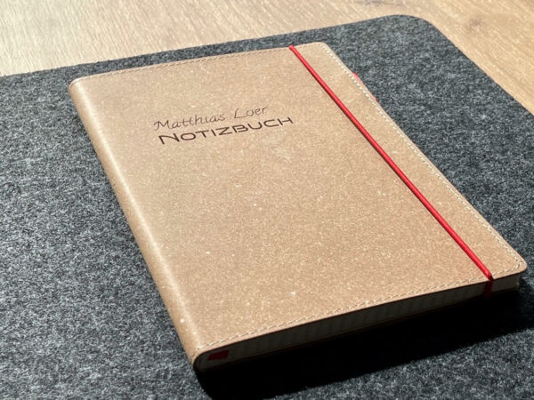 Buch mit Ledercover, Echtleder, Rindsleder, Wunschgravur, hochwertig, Notizbuch, Wunschname