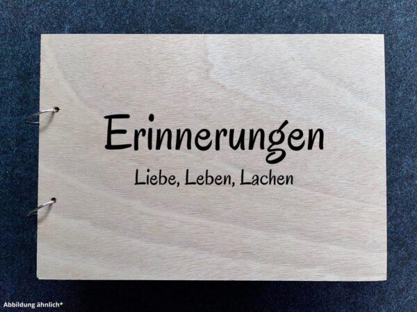 Buch mit Holzcover, Erinnerungen als Wunschgravur