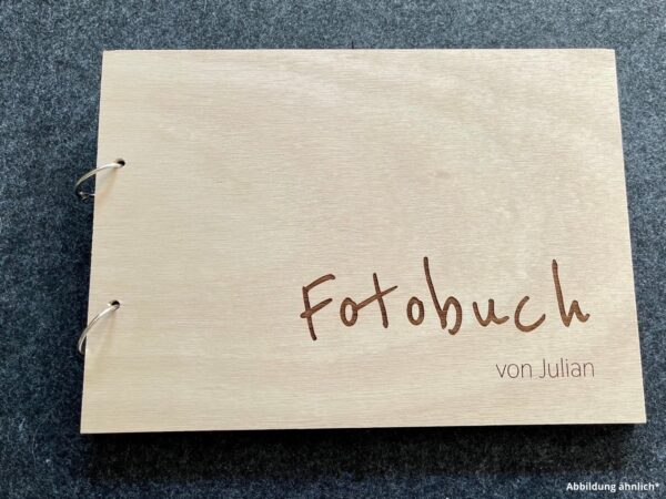 Buch mit Holzcover, Fotobuch mit Name als Wunschgravur