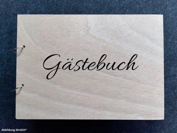 Buch mit Holzcover, Gästebuch als Wunschgravur