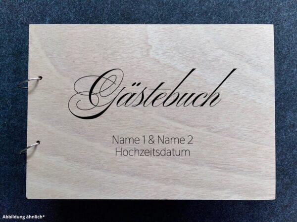 Buch mit Holzcover, Gästebuch mit Wunschgravur