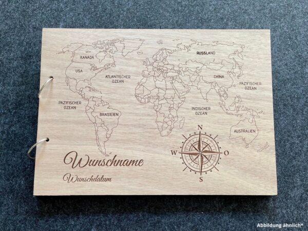 Buch mit Holzcover, Weltreise / Urlaub als Wunschgravur