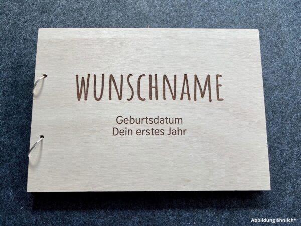 Buch mit Holzcover, Fotobuch als Wunschgravur