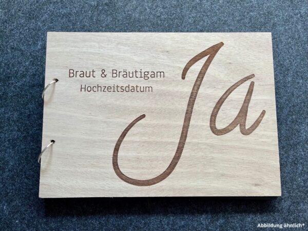 Buch mit Holzcover, Hochzeit als Wunschgravur