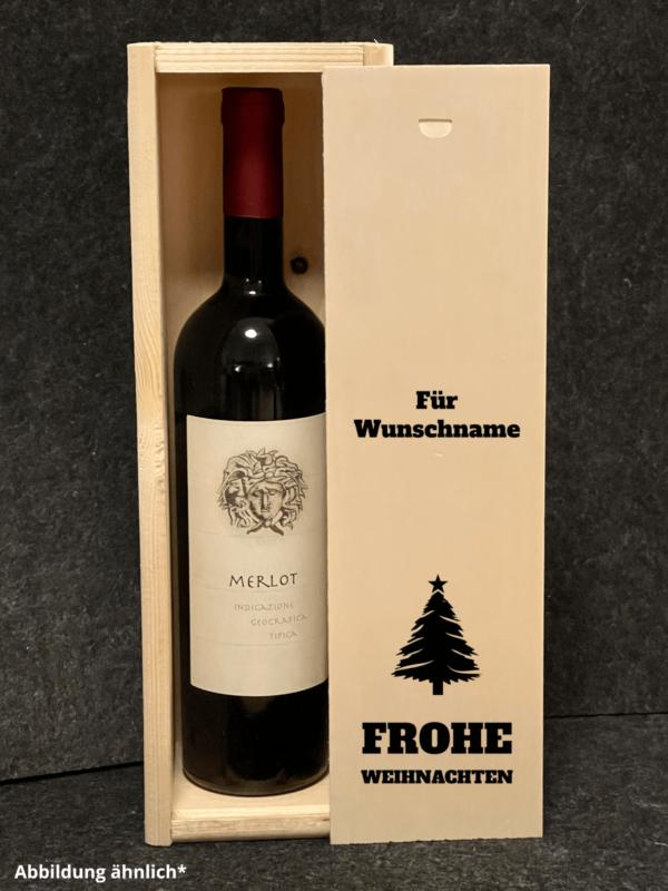 Weinkiste mit Schiebedeckel, Wunschgravur, Weihnachten, Wunschnamen, Wunschdatum, Weinbox, Geschenkverpackung Wein,