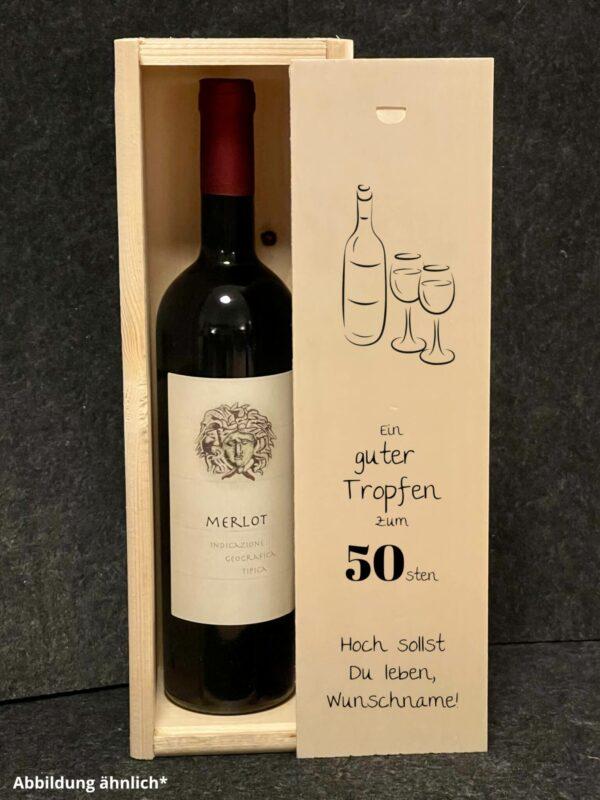 Weinkiste mit Schiebedeckel, Wunschgravur, Geburtstag, Wunschnamen, Wunschdatum, Weinbox, Geschenkverpackung Wein,
