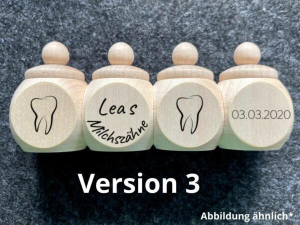 Holzdose mit Schraubdeckel, Wunschgravur, Milchzähne, Wunschname, Wunschdatum
