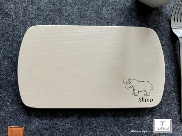 Frühstücksbrettchen aus Ahorn, unverbleit, mit Wunschgravur, Kindermotiv, Nashorn