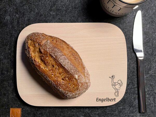 Frühstücksbrettchen aus Buchenholz, individuelle Wunschgravur