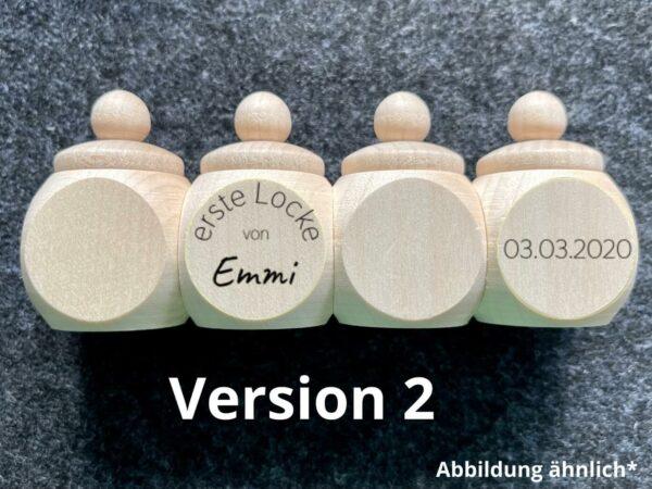Holzdose mit Schraubdeckel, Wunschgravur, erste Locke, Wunschname, Wunschdatum